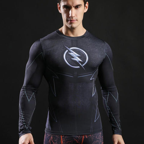 The Flash 'Zoom' Compression Long Sleeve Rash Guard-RashGuardStore