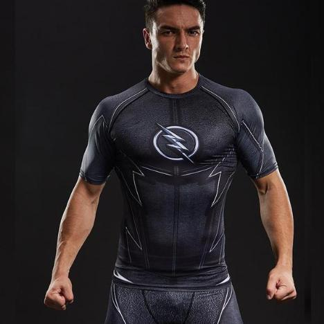 The Flash 'Zoom' Compression Short Sleeve Rash Guard-RashGuardStore