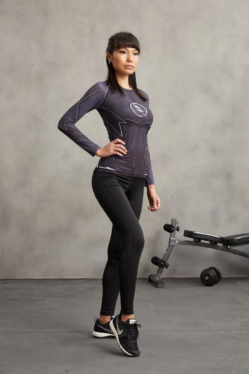 "The Flash ""Zoom"" Women's Long Sleeve Compression Rashguard-RashGuardStore"