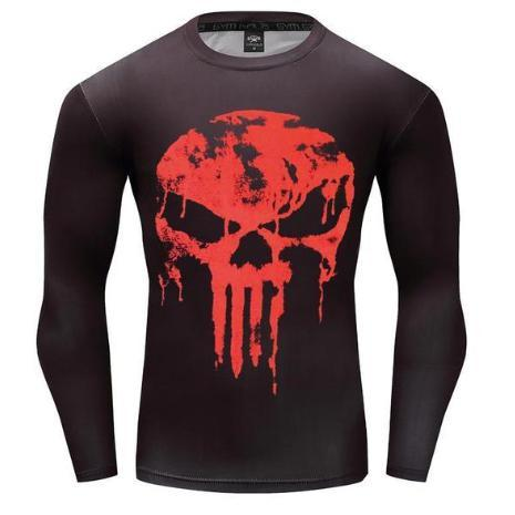 The Punisher 'Blood Melting Skull' Long Sleeve Compression Rashguard-RashGuardStore