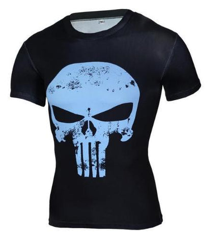 The Punisher 'Blue Skull' Short Sleeve Compression Rashguard-RashGuardStore