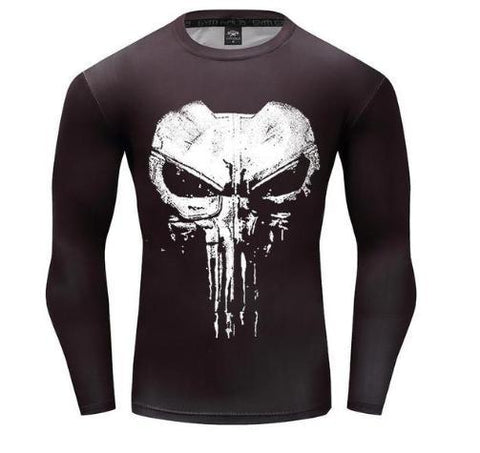 The Punisher 'Cracked Skull' Long Sleeve Compression Rashguard-RashGuardStore