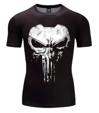 The Punisher 'Cracked Skull' Short Sleeve Compression Rashguard-RashGuardStore