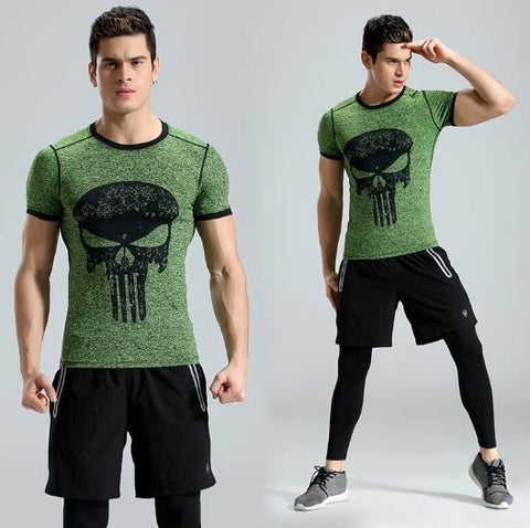 The Punisher 'Heathered' Green Short Sleeve Compression Rashguard-RashGuardStore
