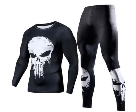 The Punisher Long Sleeve Compression Rash Guard Set-RashGuardStore