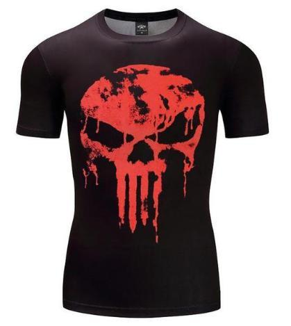The Punisher 'Melting Blood Skull' Short Sleeve Compression Rashguard-RashGuardStore