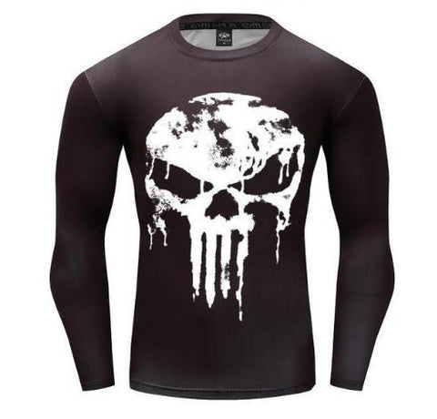 The Punisher 'Melting Skull' Long Sleeve Compression Rashguard-RashGuardStore