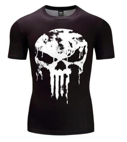 The Punisher 'Melting Skull' Short Sleeve Compression Rashguard-RashGuardStore
