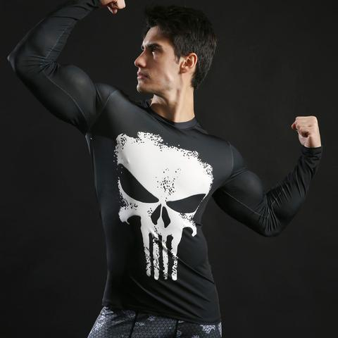 The Punisher 'White Skull' Long Sleeve Compression Rashguard-RashGuardStore