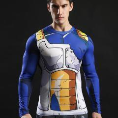 Vegeta Battle Damaged Armor Dragon Ball Z Long Sleeve Compression Rash Guard-RashGuardStore