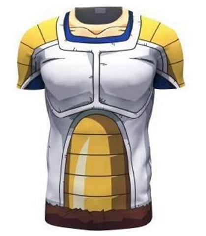 Vegeta Saiyan Armor Dragon Ball Z Compression Short Sleeve Rash Guard-RashGuardStore