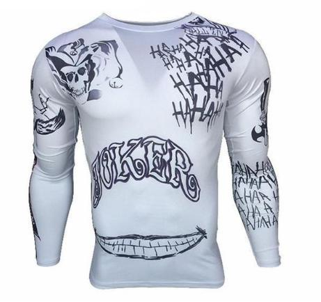 White Joker Tattoo Suicide Squad Compression Long Sleeve Rashguard-RashGuardStore