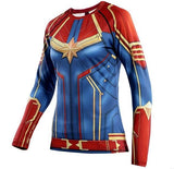 Women's Captain Marvel Carol Danvers Compression Long Sleeve Rashguard-RashGuardStore