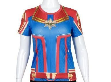 Women's Captain Marvel Carol Danvers Dri-Fit Short Sleeve Rashguard-RashGuardStore
