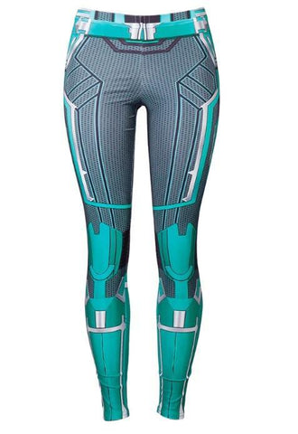Women's Captain Marvel Carol Danvers 'Star Force' Green Kree Compression Leggings-RashGuardStore