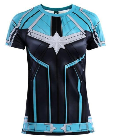 Women's Captain Marvel Carol Danvers 'Star Force' Kree Compression Short Sleeve Rashguard-RashGuardStore