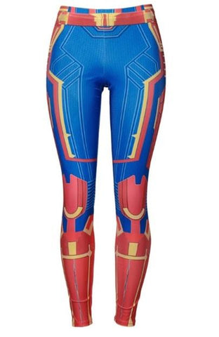 Women's Captain Marvel Compression Leggings-RashGuardStore