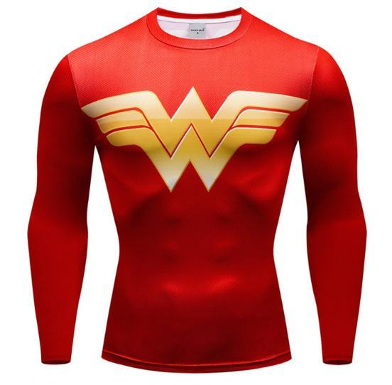 Wonder Woman 'Classic' Premium Compression Long Sleeve Rash Guard-RashGuardStore
