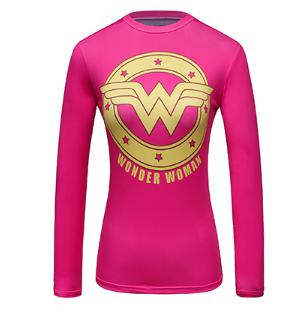 Wonder Woman 'Pink' Compression Long Sleeve Rash Guard-RashGuardStore