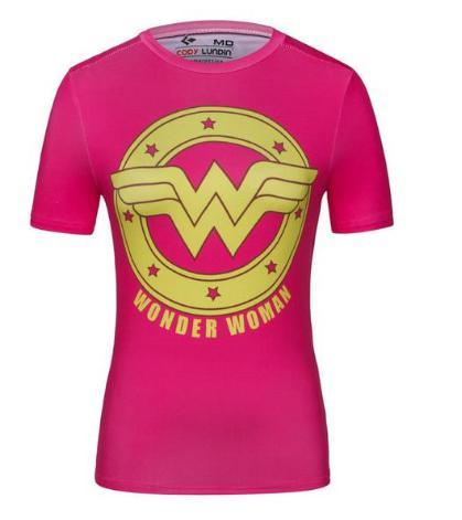 Wonder Woman 'Pink' Compression Short Sleeve Rash Guard-RashGuardStore