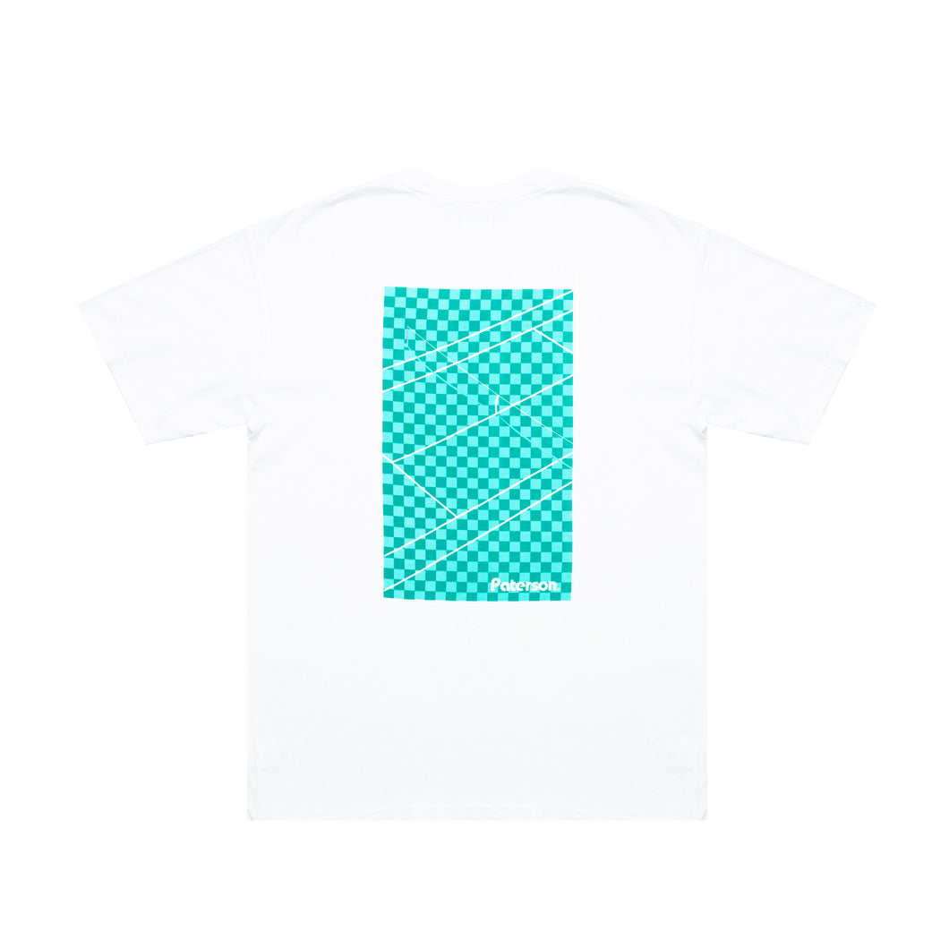 COURT CROP TEE (WHITE/GREEN)