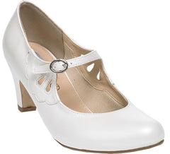 Closed Toe Leaf Detail - Ivory Bridal Shoe - GISELLE by LEXUS