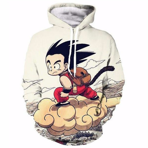 Kid Goku Cruising on Nimbus Cloud - Dragon Ball Z Pocket Anime Hooded Sweatshirt Hoodies