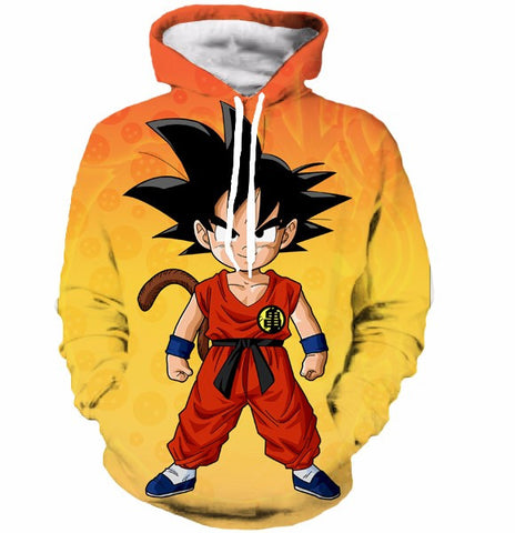 Kid Goku Ready to Battle - Dragon Ball Z Pocket Hooded Sweatshirt Hoodies