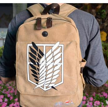Anime Warehouse | Attack on Titan Survey Corps Brown - High Quality Large Flap Anime Backpack