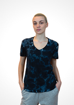 Short Sleeve V-Neck PIMA Sheer Slub Tie Dye