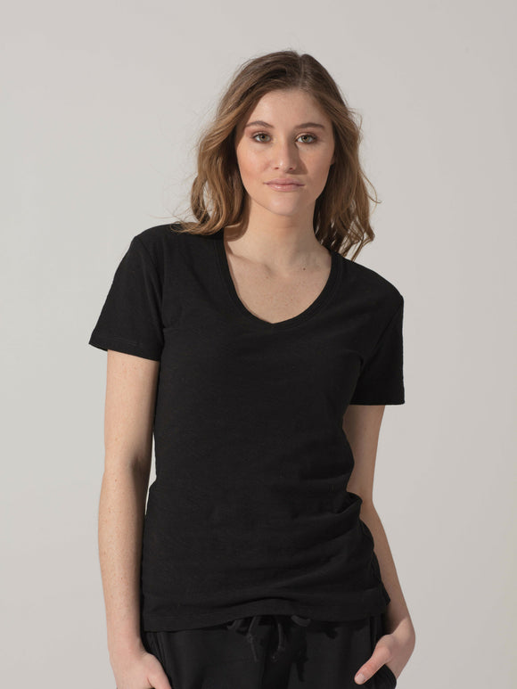 Short Sleeve V-Neck PIMA Sheer Slub - SBASE