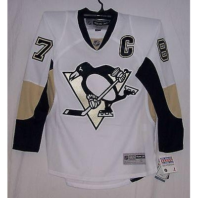 reputable site 176f1 b4691 CROSBY Pittsburgh Penguins Rbk Premier AWAY White Jersey