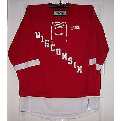 Wisconsin Badgers Red NCAA Reebok Premier Jersey - Hockey Jersey Outlet bc2bf594660