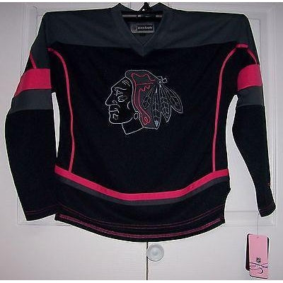 994cad9fe Black   Hot Pink Chicago Blackhawks GIRLS Reebok Jersey Youth ...