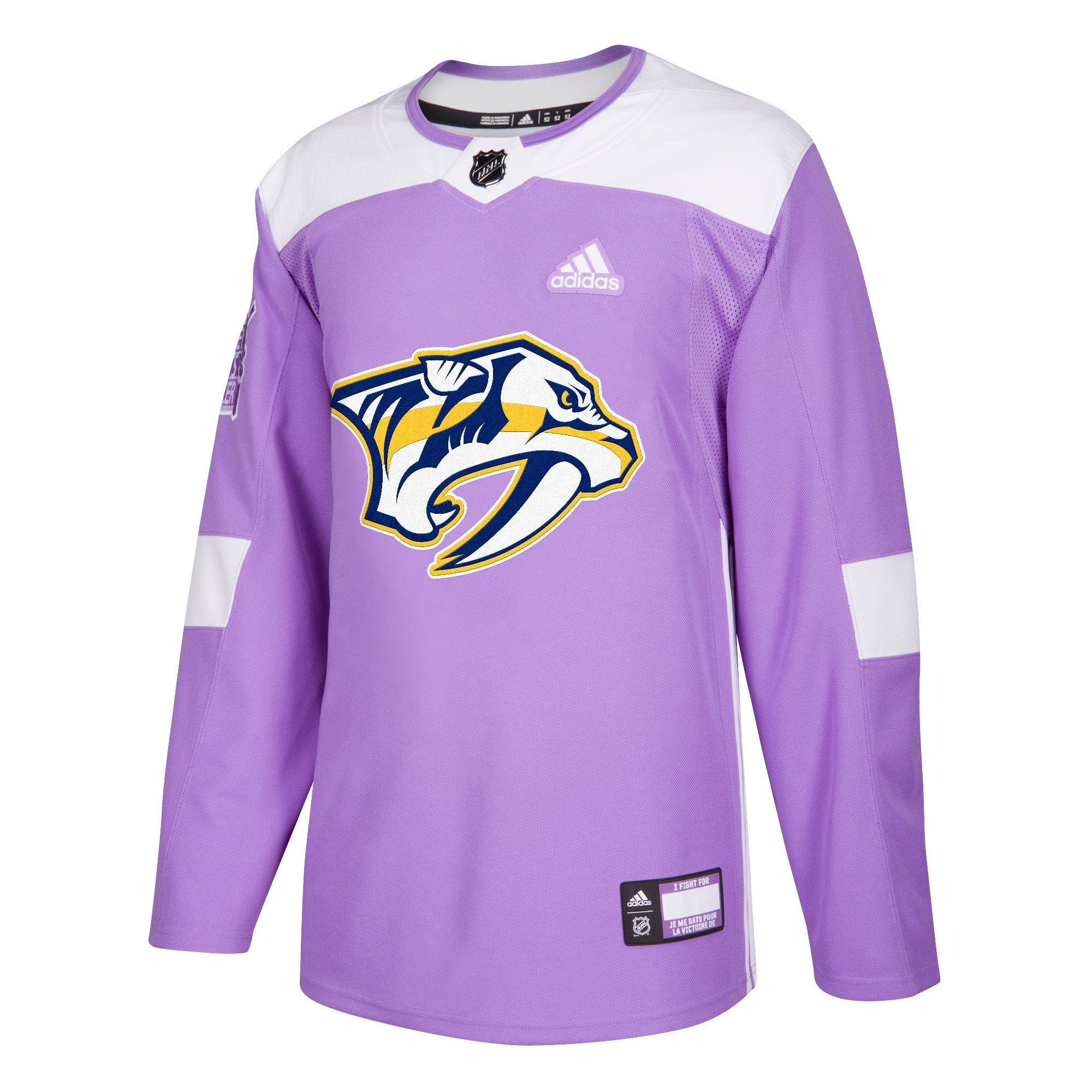 cheap for discount 64843 e7713 Hockey Fights Cancer Nashville Predators Purple 255J Adidas NHL Authentic  Pro Jersey