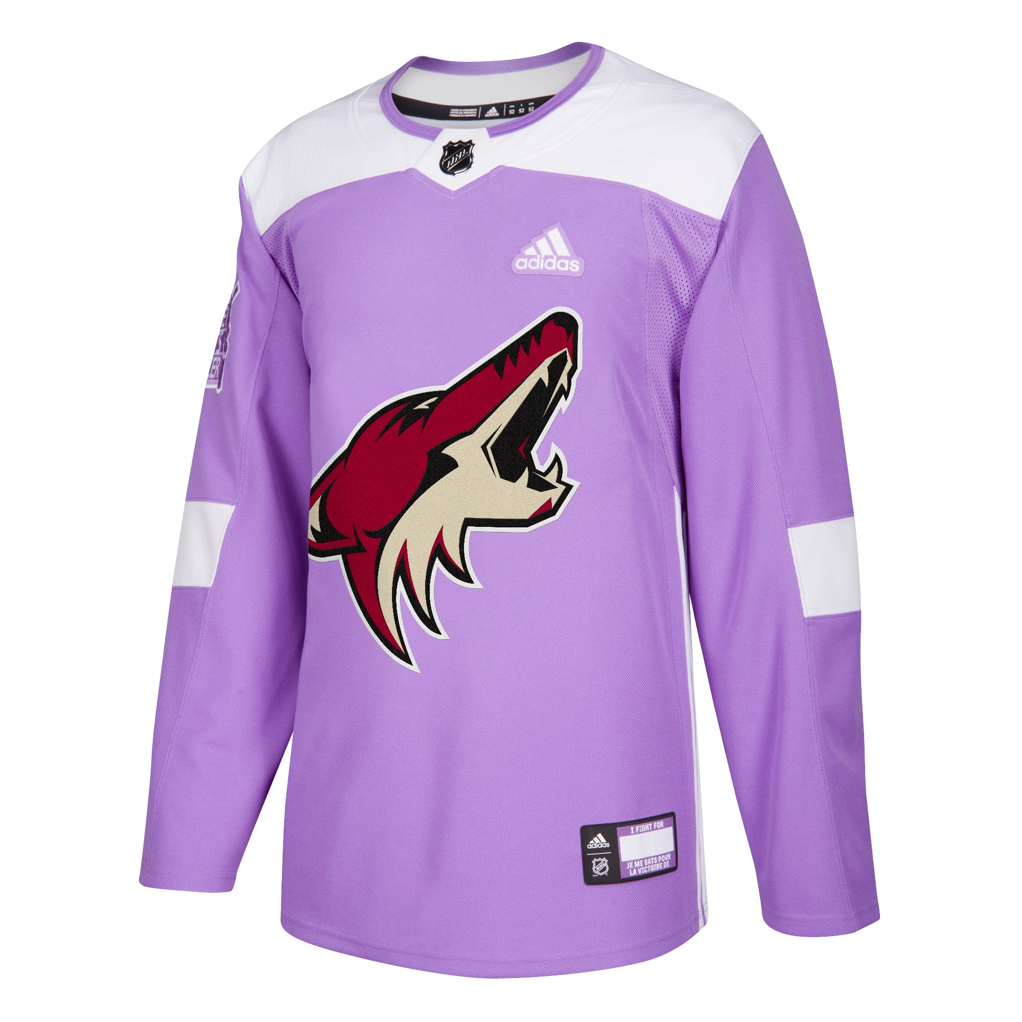 separation shoes e8552 f03cd Hockey Fights Cancer Phoenix Coyotes Purple 255J Adidas NHL Authentic Pro  Jersey