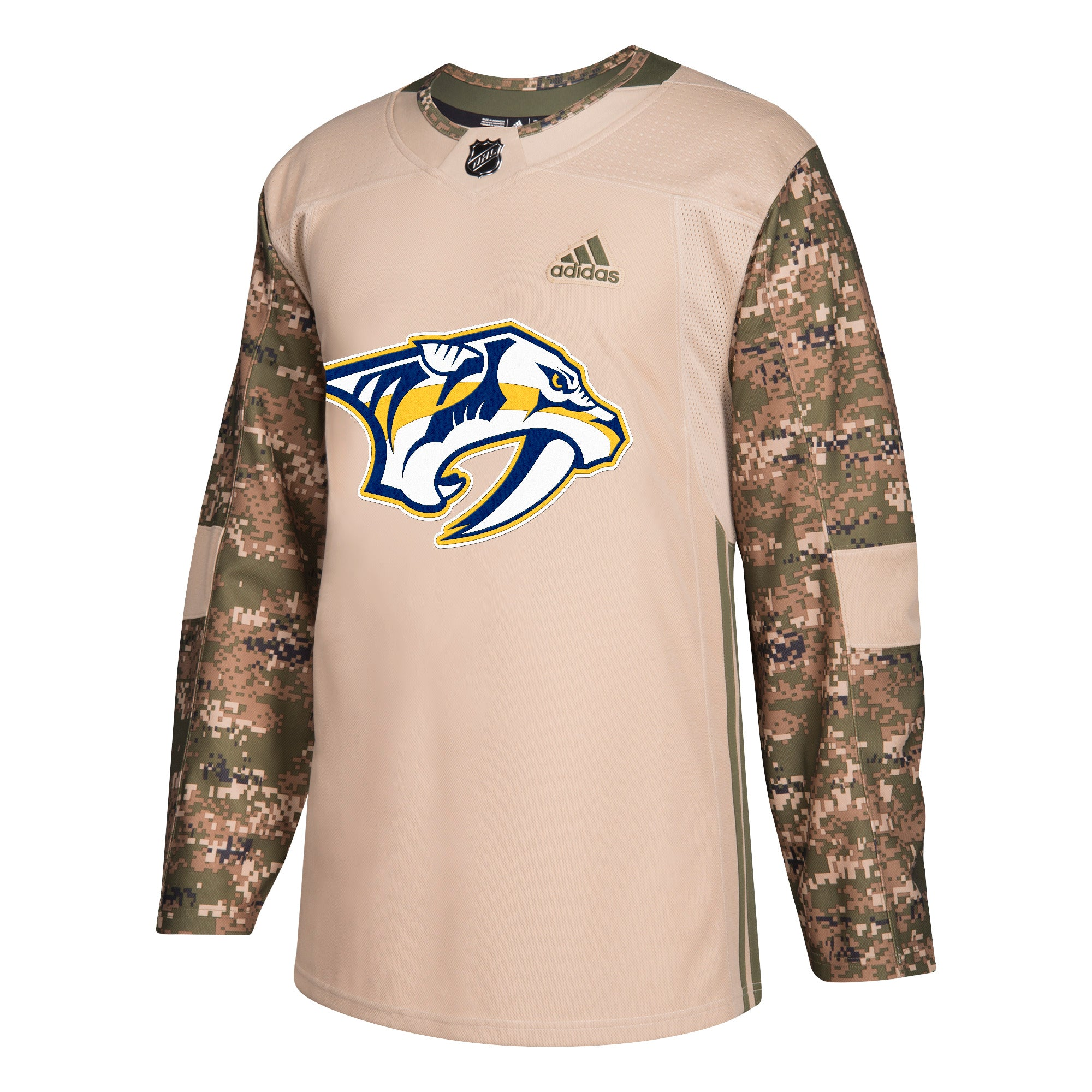 7931d4a39 Military Camo Khaki Nashville Predators 258J Adidas NHL Authentic Pro Jersey
