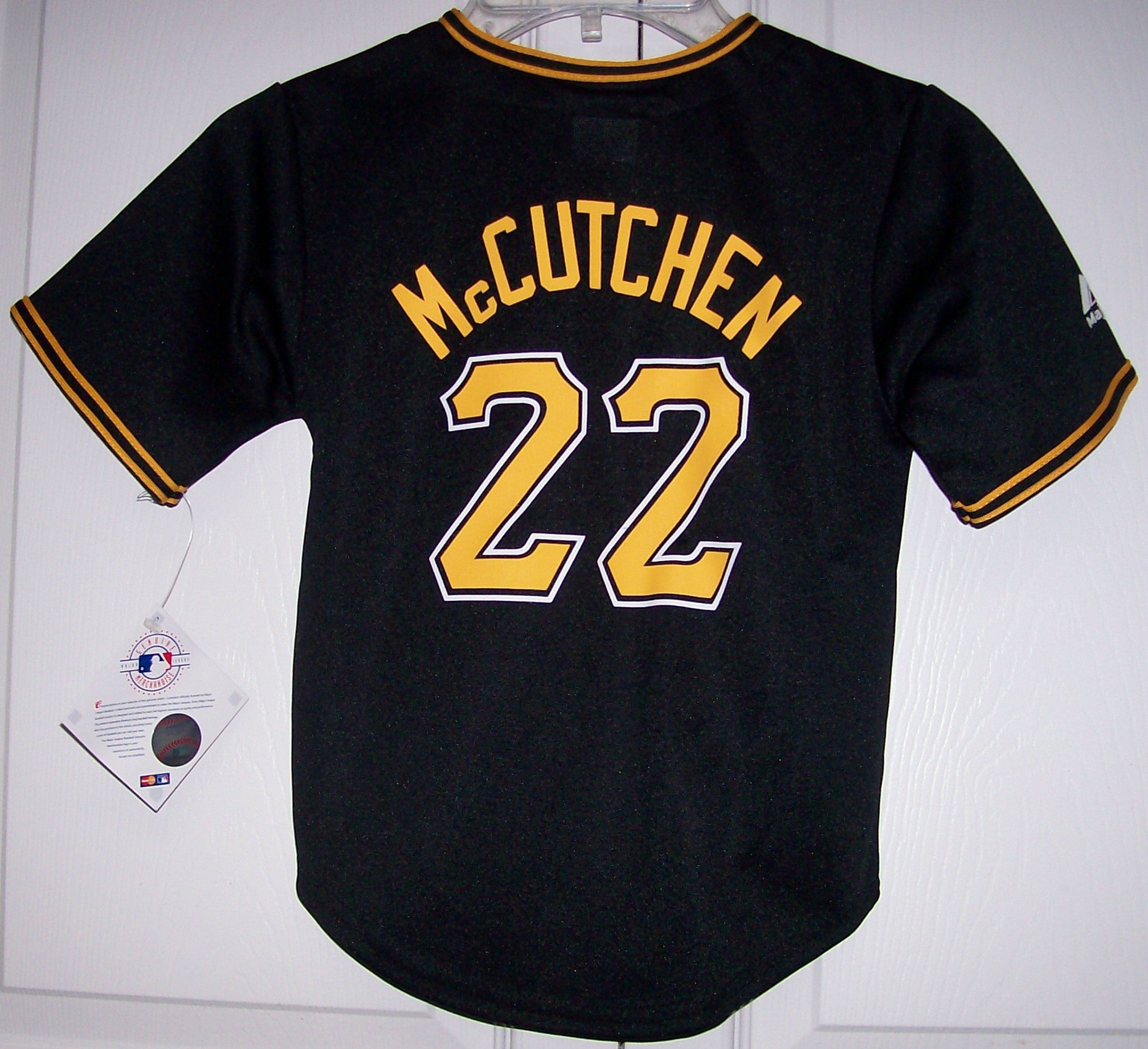 pretty nice e1fc2 77e79 McCutchen Pittsburgh Pirates YOUTH Majestic MLB Baseball jersey BLACK