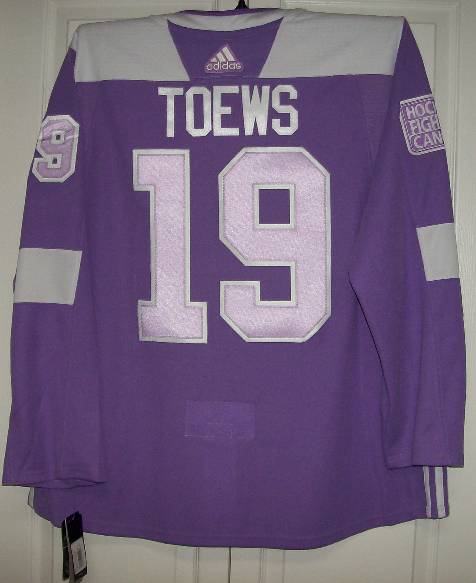 TOEWS Hockey Fights Cancer Chicago Blackhawks Purple 255J Adidas NHL  Authentic Pro Jersey 23ffb0368