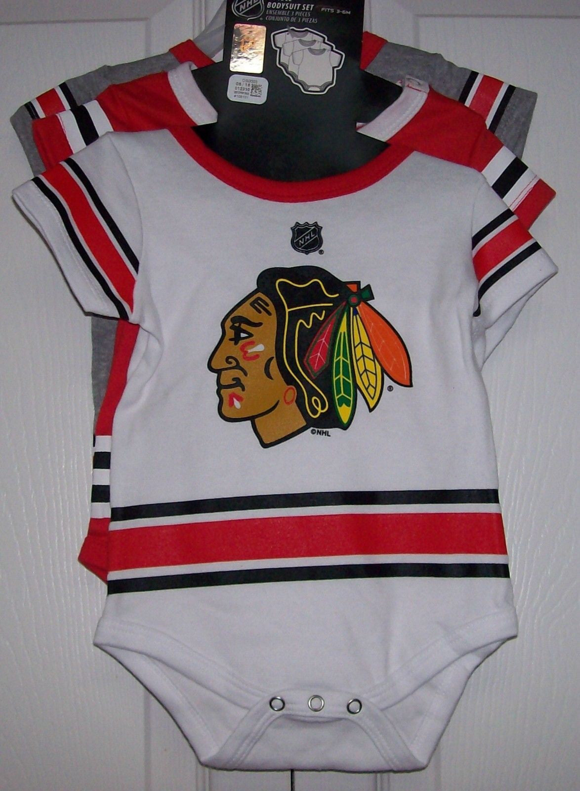 premium selection ef960 5b872 3 pack Chicago Blackhawks Baby CREEPERS Reebok Red White Grey Jersey