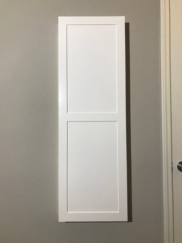 NOW AVAILABLE! Pre-Finished White Shaker Door In-Wall Ironing Board