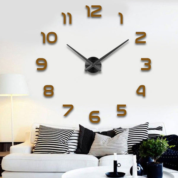 Fashion 3D Big Size Wall Clock Sticker DIY Brief Living Room Decor Meetting Room  Wall Clock