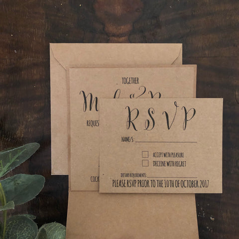 kraft brown pocket invitation