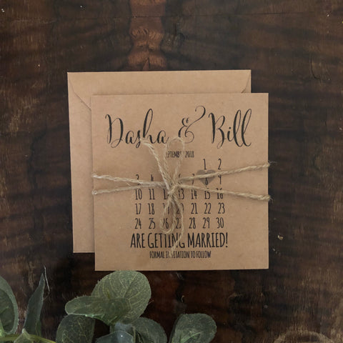 kraft brown calendar save the date card