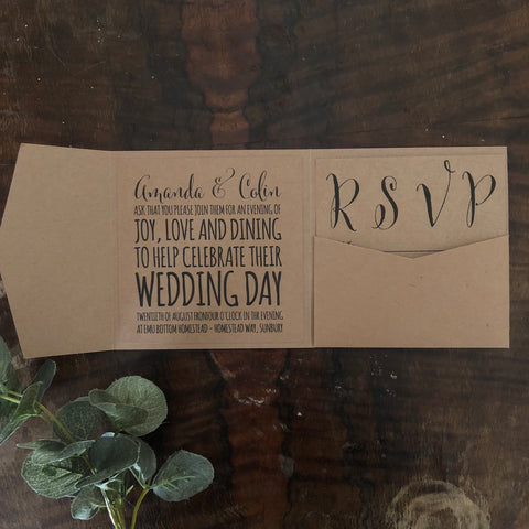 kraft brown folded pocket invitation