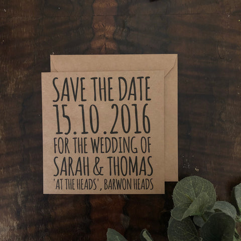 kraft brown save the date card
