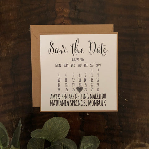 white calendar save the date card