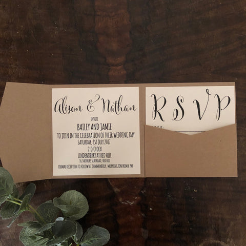 vanilla folded pocket invitation