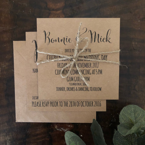 kraft brown invitation