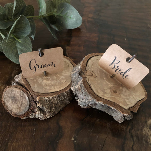 wooden block place card